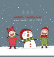 christmas card with snowman and kids vector image vector image