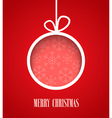 Christmas paper card with hanging toy vector image vector image