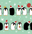 christmas seamless pattern of penguins vector image vector image