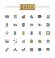 Colored Bank Line Icons vector image vector image