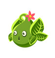 Cute fantastic green plant character in the form