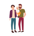 cute gay couple standing together and holding vector image vector image