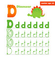 d letter worksheet with funny dinosour character vector image