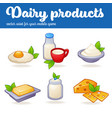 dairy products game mobile asset in cartoon style vector image vector image