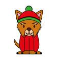 dog merry christmas card vector image vector image