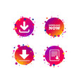 download now signs upload file document icon vector image vector image