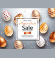 easter sale banner design with square frame gold vector image vector image