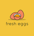 eggs logo linear eggs with egg shell and yolk vector image