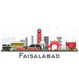 faisalabad pakistan city skyline with gray vector image vector image