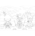 Fantasy heroes in forest contour vector image