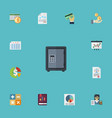 flat icons safe paper bookkeeper and other vector image vector image