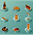 germany color isometric icons vector image vector image