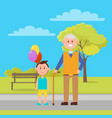 grandfather and grandson park vector image
