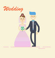 groom and bridecouple holding hands on wedding vector image vector image