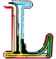 Grunge colorful font Letter L vector image vector image