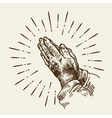 Hand-drawn praying hands Sketch vector image vector image