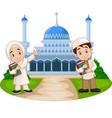 happy cartoon muslim kids in front mosque vector image vector image