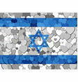 israel flag made of hearts background vector image