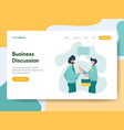 landing page template business discussion vector image vector image