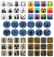 Oil gas and electric power industry Icons vector image