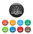 old bowling icons set color vector image