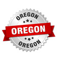 Oregon round silver badge with red ribbon vector image vector image