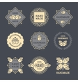 Outline handmade labels set on dark background vector image