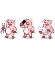Pink Pig Mascot with phone vector image vector image