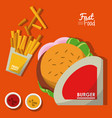 poster fast food in orange background with burger vector image vector image