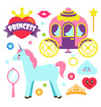 princess party unicorn poster vector image vector image