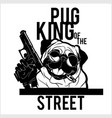 pug dog with glasses gun and cigar - gangster vector image vector image