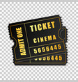 realistic two black cinema tickets isolated object vector image vector image