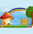 red mushroom house and rainbow on forest vector image