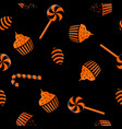 seamless pattern of halloween candy black and vector image