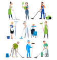 set of cleaning company staff vector image vector image