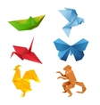 Set of origami animals vector image vector image