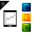 tablet with statistic graph chart icon isolated on vector image