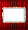Theater scene with red curtain and sign gold frame vector image vector image