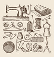 vintage sewing symbols set pictures in vector image vector image