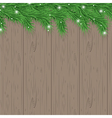 wood background with christmas tree branches vector image