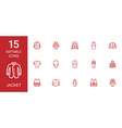 15 jacket icons vector image vector image