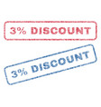 3 percent discount textile stamps vector image vector image