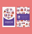 amusement park family fun card summer fair poster vector image