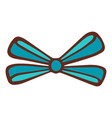blue color decoration bow icon hand drawn style vector image vector image