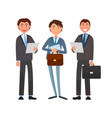 business affairs of businessmen holding documents vector image