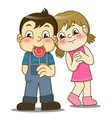 cartoon little girl and handsome boy with lollipop vector image vector image