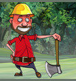 cartoon man woodcutter in a helmet with an ax vector image vector image