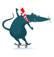 cartoon rat or mouse a skateboarder vector image vector image