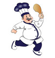 chef running with meat in hand vector image