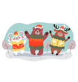 christmas winter forest animal characters vector image